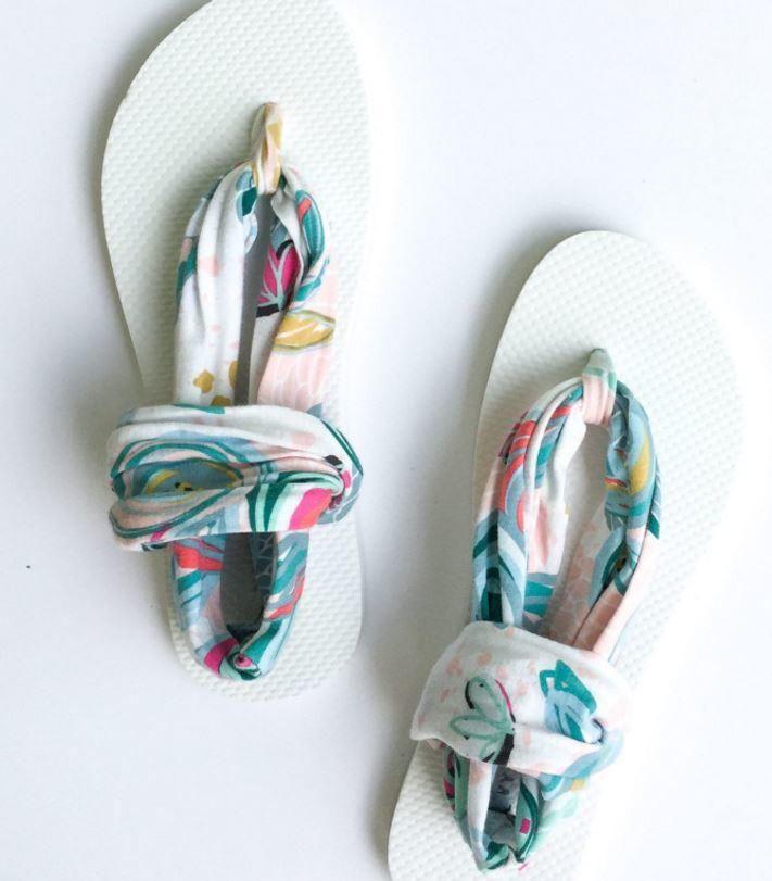 Sling Back Flip Flop Tutorial | Transform old flip flops into DIY sandals with this designer inspired tutorial!