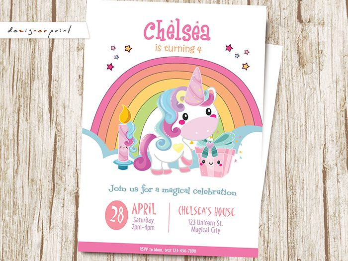 Dezignerprint Birthday Invitation Party Invite Etsyshop Etsyseller Etsystore Printable Digital Printout Unicorn Rainbow Magical Cupcake Pink