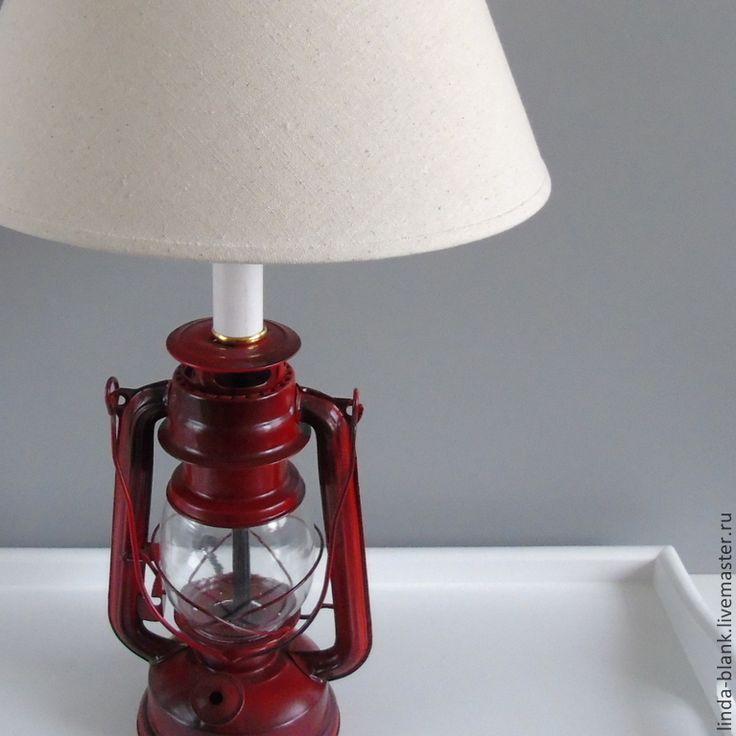 Купить Лампа настольная.Фонарь .С абажуром.Винтаж.Морской стиль. - бордовый, лампа