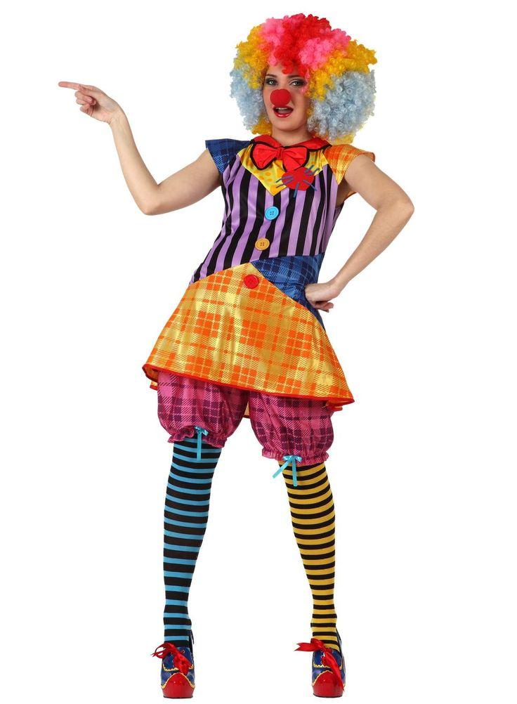 Disfraz de payaso para mujer: Este disfraz de payaso para mujer incluye una túnica y un pantalón corto. La túnica tiene rayas y cuadros de colores muy vivos. El pantalón es abombado y de color rosa con...