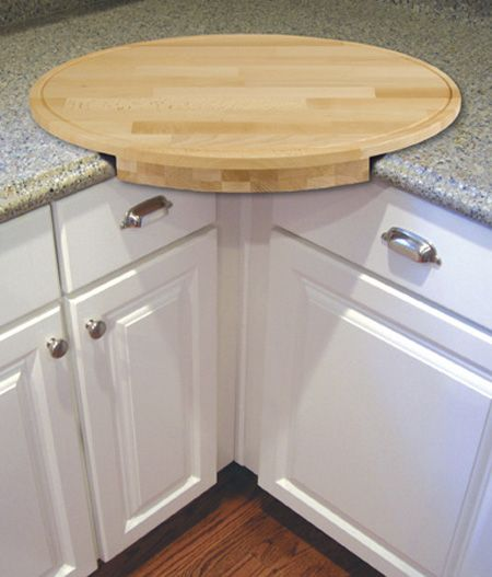 Corner cutting board- Put the trash can underneath and sweep the scraps away. Handy! #home