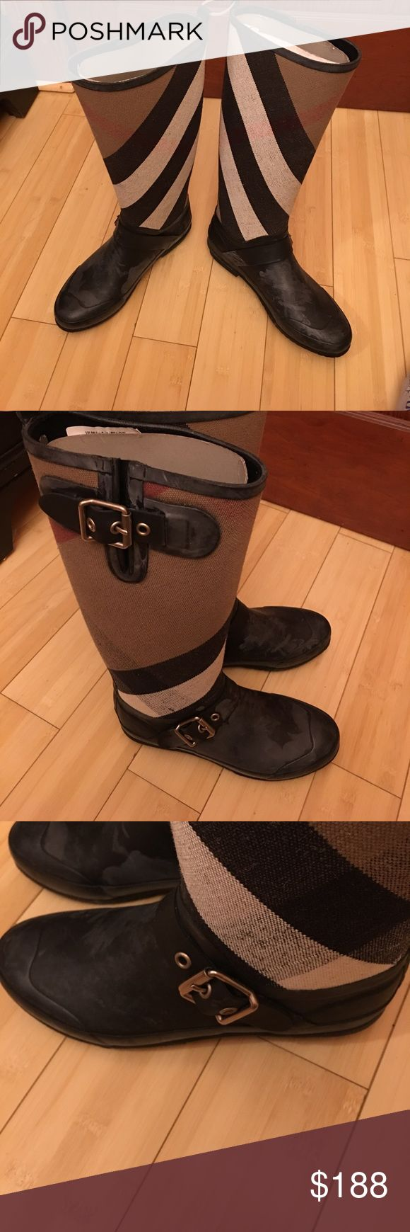 Burberry rain boots Brand new Burberry rain boots, size 8 but like size 71/2. Make me an offer it is yours.100%auth. Burberry Shoes Winter & Rain Boots
