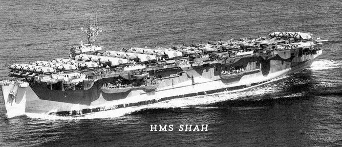 Nearly all Royal Navy's escort carriers began careers sailing from Vancouver, through Panama Canal and on to eastern American port where they took on aircraft to ferry to Great Britain. Shah one of few exceptions, sailing to San Francisco, where she took on Avengers of 851 Squadron as well as 32 Wildcats and 22 P-40 Warhawks for service in Southeast Asian Theatre.Photo was taken after she left San Francisco, en route to Melbourne, Australia.