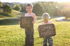 Would be cute with makayla holding a sign that is assuring Arya it's not so bad to be a middle child