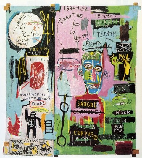 Jean-Michel Basquiat Retrospective Gagosian Gallery - In Italian, 1983 Acrylic and oil paintstick on canvas with wooden supports and five smaller canvases painted with ink marker (224,8 x 203,2 cm)