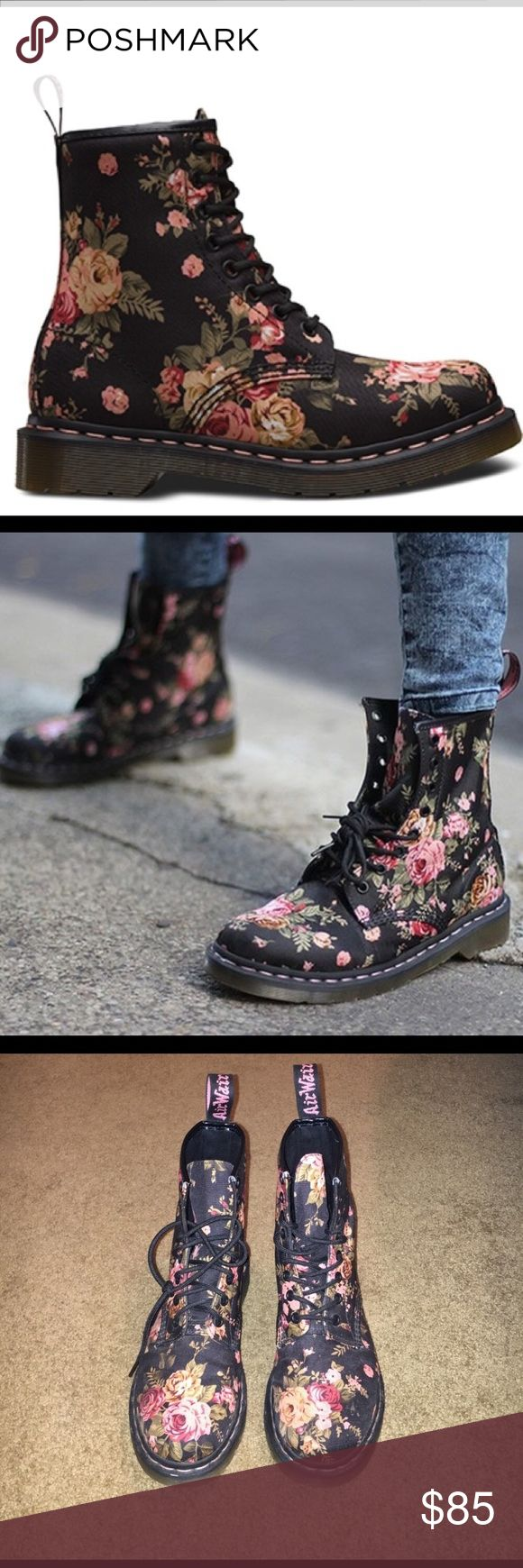 Doc Martens Floral Print Basically NEW Doc Martens. Worn twice, too big on me! Matches with neutral colors, especially black :) Dr. Martens Shoes