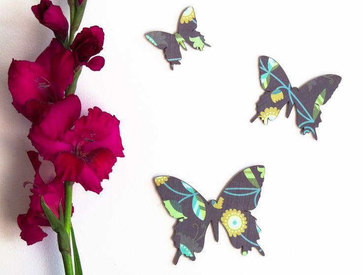 Purple pattern butterflies - Set of 3 detailed butterlies in silhouette | Felt
