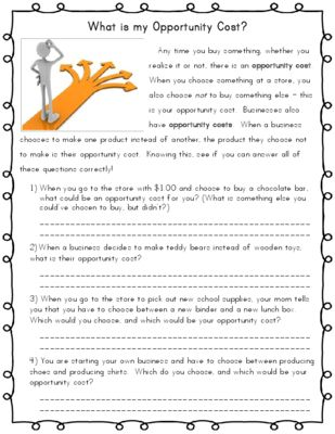 Opportunity Cost - Economics from Kelly Sanchez on TeachersNotebook.com -  (1 page)  - This 1 page worksheet is a quick read with scenarios about opportunity cost. This would be great as homework, or as a supplement to a lesson on opportunity cost!