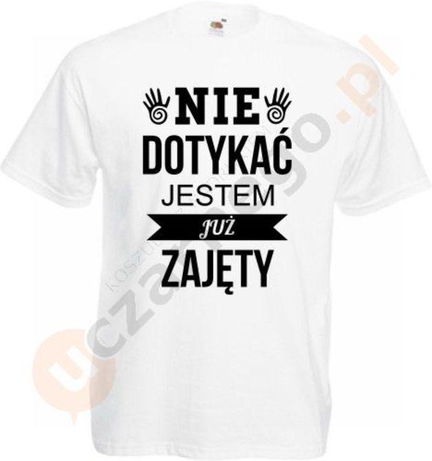 Koszulka męska Nie dotykać jestem zajęty - uczarnego - Koszulki męskie