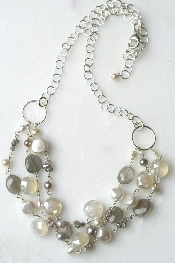 Multi Strand Pearl Necklace Pearl and by SbCollectionsJewelry