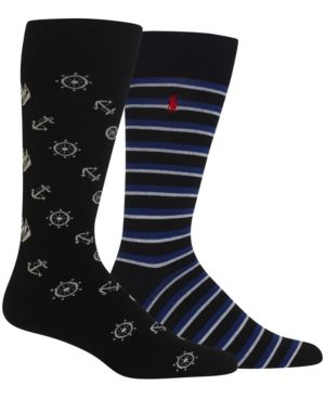 Polo Ralph Lauren Men's Big & Tall 2 Pack Printed Socks - Black/Blue Striped 13-16
