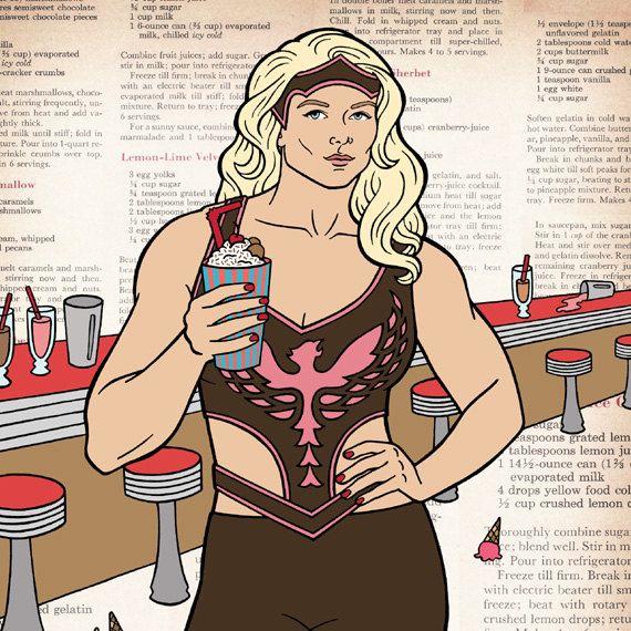 Beth Phoenix Drinks Your Milkshake by BettyTurbo on Etsy (Art & Collectibles, wrestling wrestler, wwe divas, women, ice cream, milkshake, dessert, kitchen, drawing, illustration, beth phoenix, muscles, betty turbo)
