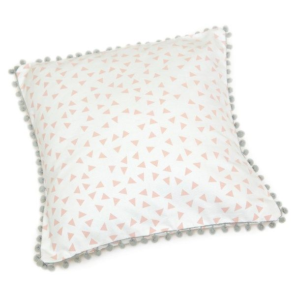 Pink Pom-Pom Scatter Cushion Cover   Add a soft touch to a girl`s room with this unique scatter cushion   Screen printed on cotton canvas   Size 45 x 45 cm   Inner not included   Pom-Pom trim colour available in: Peach, Grey, Mint