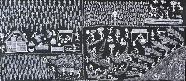 Tribal Village Scene, Warli Painting on Cotton Cloth: Warli Tribe, Warli Painting