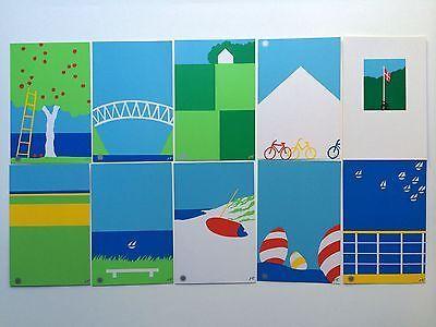 Set of 10 Ole Kortzau Silkscreen Cards / Prints, 1983 Permanente Denmark