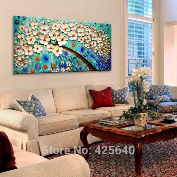 Pintura al óleo Sobre Lienzo Espátula Impasto Pared Pictures Pintura Decoración de la Sala de Arte de la Lona Pintada A Mano Del Árbol de la Flor