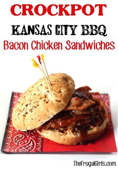 Crockpot Kansas City BBQ Bacon Chicken Sandwiches Recipe from TheFrugalGirls.com