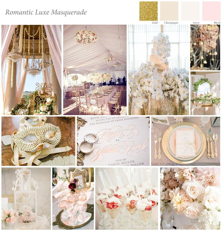 This board, called Luxe Romantic Masquerade was designed by Marie as part of her course work for the for the Diploma in Wedding Planning Styling & Design.  Her board reflects an opulent style of wedding featuring a very pretty colour palette, which she has added to the board.