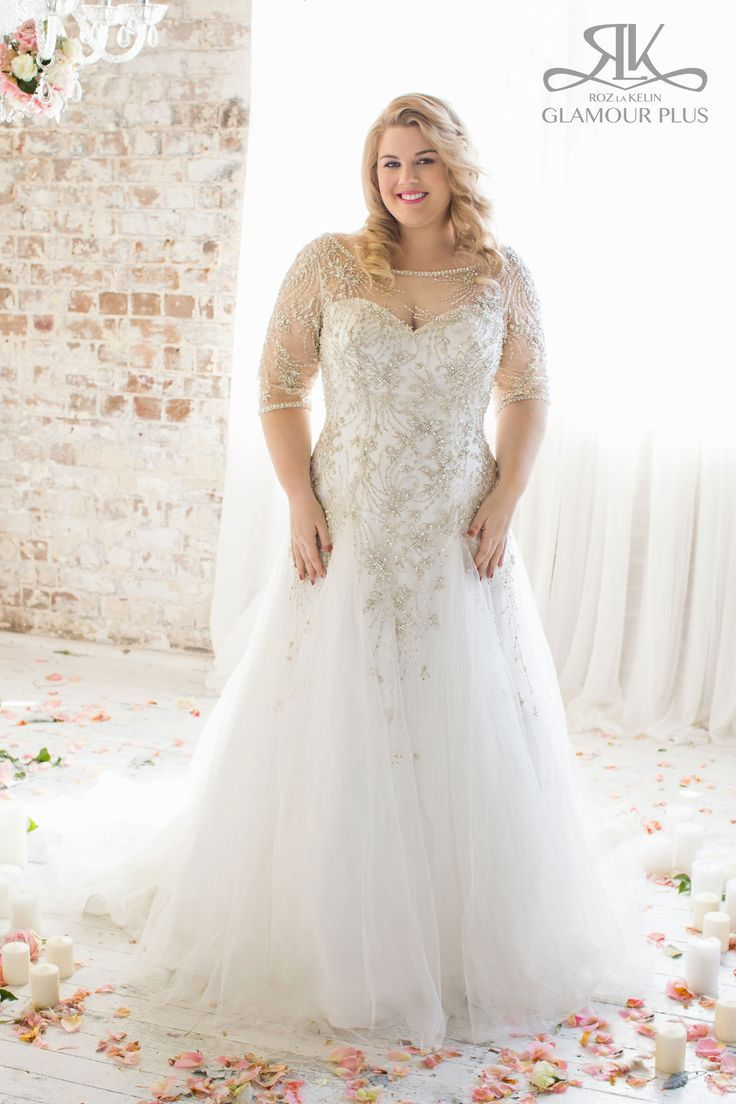 Popular Sleeved Wedding Dress with illusion neckline Beaded dress with deep v back and tule godet