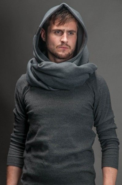 Hood with the collar in the dark colour - for men