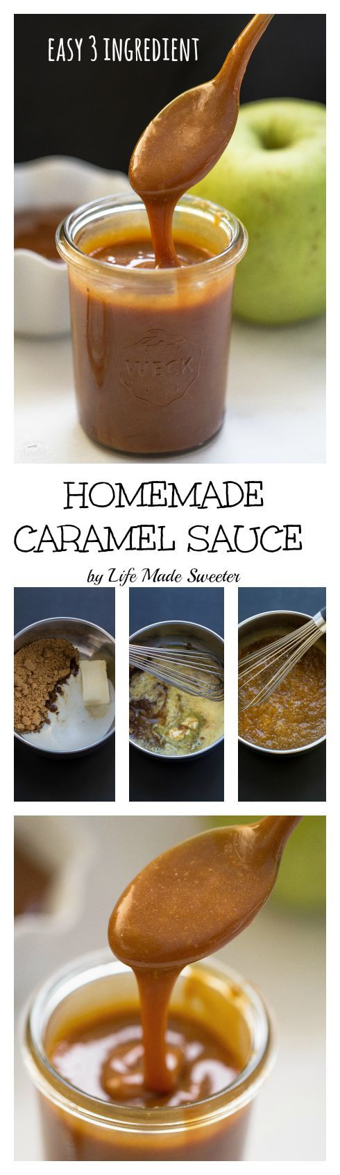 Homemade Caramel Sauce is so easy to make with only 3 ingredients!! No candy thermometer needed and step-by-step photos to show you how simple it is! Makes the best compliment to any dessert and perfect for drizzling on some ice cream!