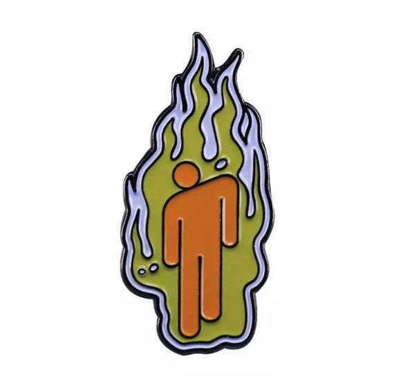Billie Eilish Fire Logo Enamel Pin Billie Eilish Billie Kids Canvas Art