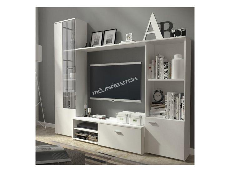Moderná obývacia stena ESPANA v nadčasovom bielom farebnom prevedení.