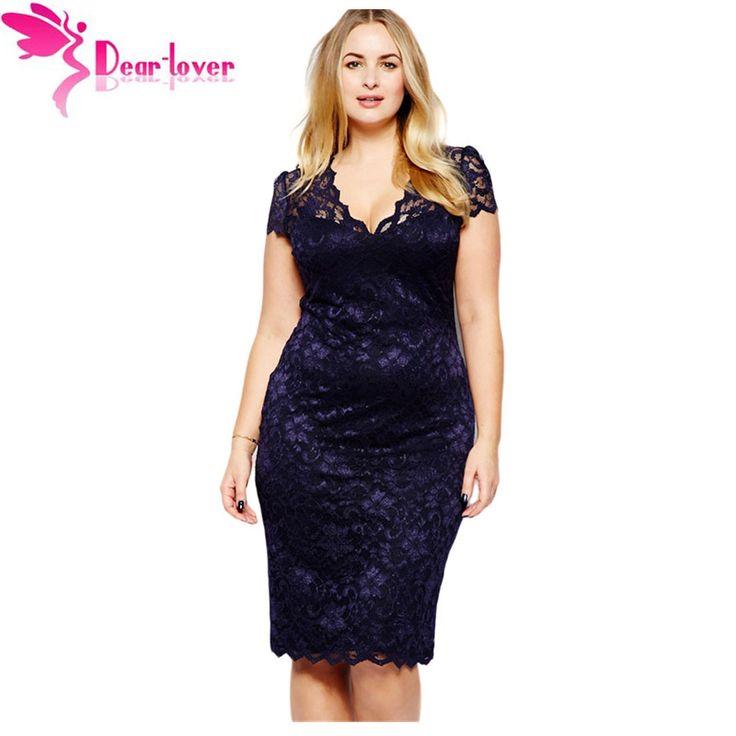 Dear lover vestido renda roupas femininas verano festoneado v cuello de encaje azul marino plus xxl señoras de la oficina de partido midi dress lc6415 en Vestidos de Ropa y Accesorios de las mujeres en AliExpress.com | Alibaba Group