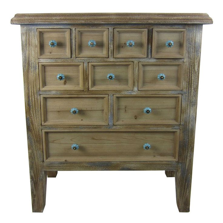 10 Drawer Wooden Distressed Cabinet, 32x41 In. Distressed CabinetsDistressed  FurnitureAccent TablesDrawersAccent FurnitureConvenient