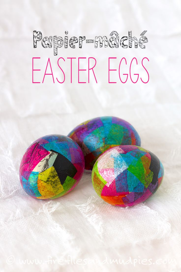 Vibrant Papier-mâché Easter Eggs are a fun Easter craft for kids!