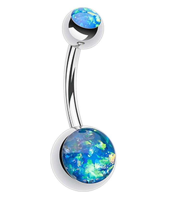 """Opalescent Glitter Shower Belly Button Ring - 14 GA (1.6mm) - Ball Size: 3/16x5/16"""" (5x8mm) - Blue - Sold Individually"""