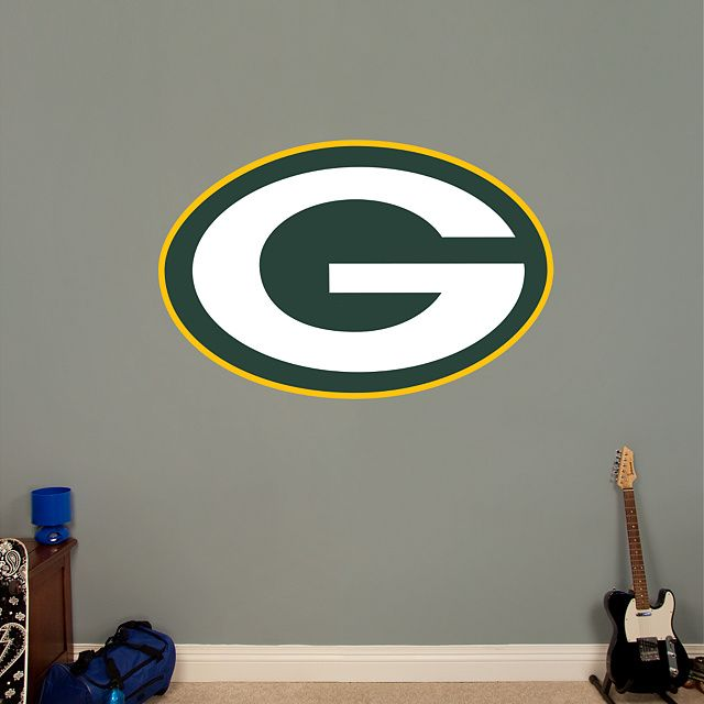 Green Bay Packers Logo REAL.BIG. Fathead – Peel & Stick Wall Graphic | Green Bay Packers Wall Decal | Sports Home Decor | Football Bedroom/Man Cave/Nursery