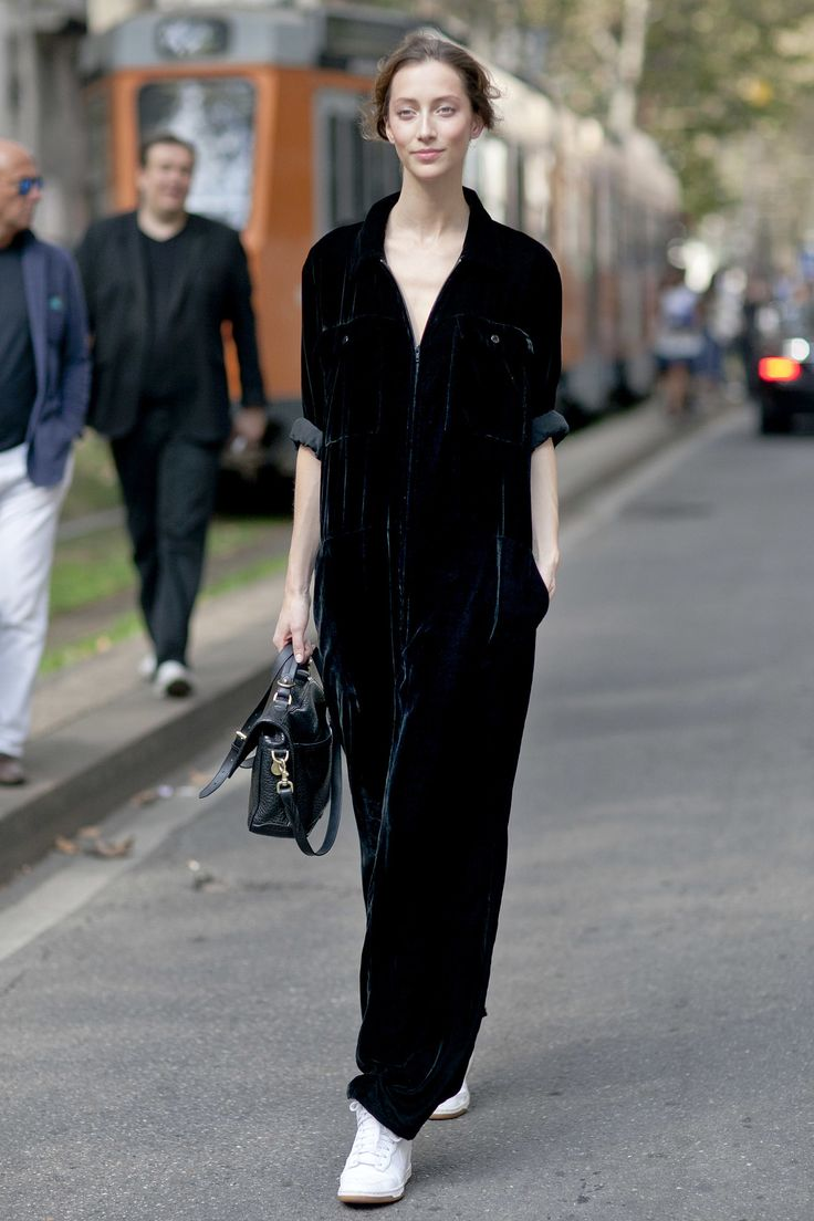 Fashion Week Spring 2014 All the Best Street Style Straight From Milan Fashion Week!   >>   A velour jumpsuit and white Nikes put a new twist on sportswear.