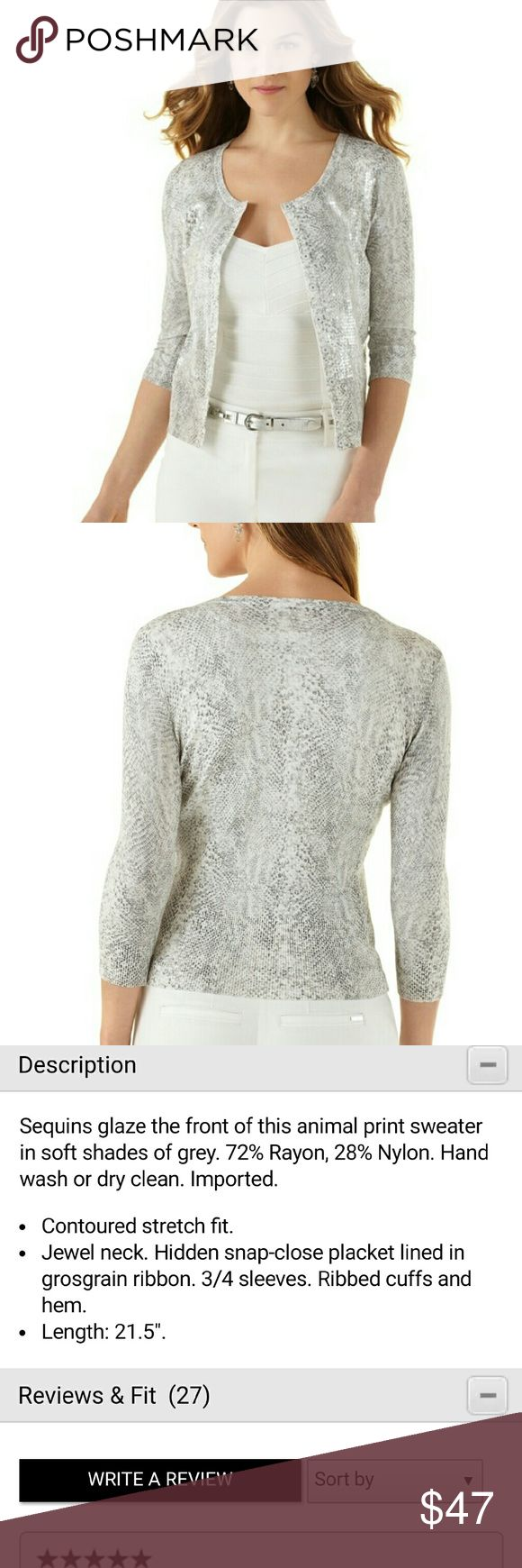 White House Black Market Snake & Sequin Cardigan S GORGEOUS!!!! Only worn twice, absolute show stopper. NO TRADES PLEASE DON'T ASK ME! White House Black Market Sweaters Cardigans