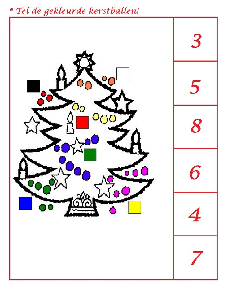 * Tel de gekleurde kerstballen! 1-2