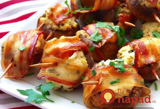 Ak hľadáte tip na vynikajúce jednohubky pre vašich hostí, alebo jednoducho skvelú chuťovku, máme pre vás vynikajúci tip. Vyskúšajte skvelé plnené šampiňóny obalené v chrumkavej slaninke.