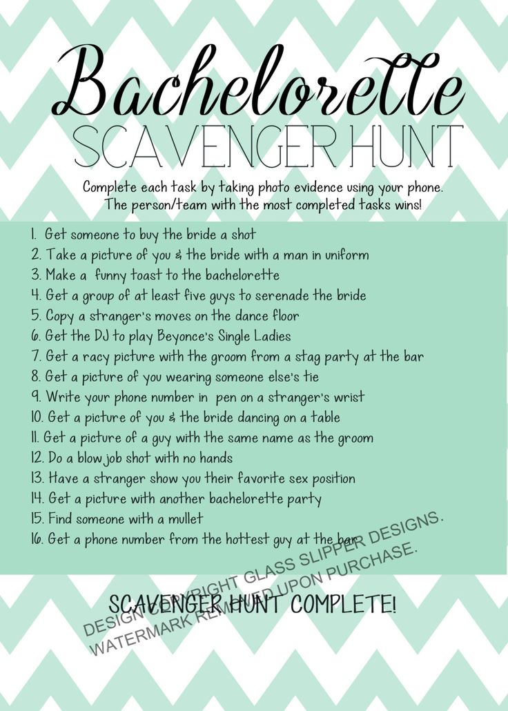 Printable Bachelorette Scavenger Hunt Game Games Chevron