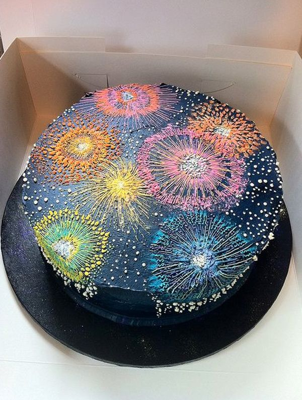Fireworks Cake....I LIKE THE IDEA OF THIS CAKE IT'S SIMPLE AND ADDING SOME POP ROCKS SPRINKLED  ON TOP WOULD BE A NICE EFFECT.   :)