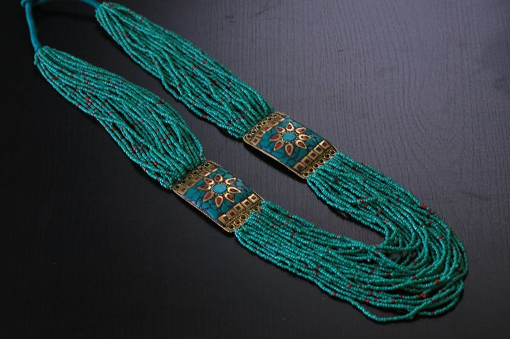 Turquoise coral tibetan necklace