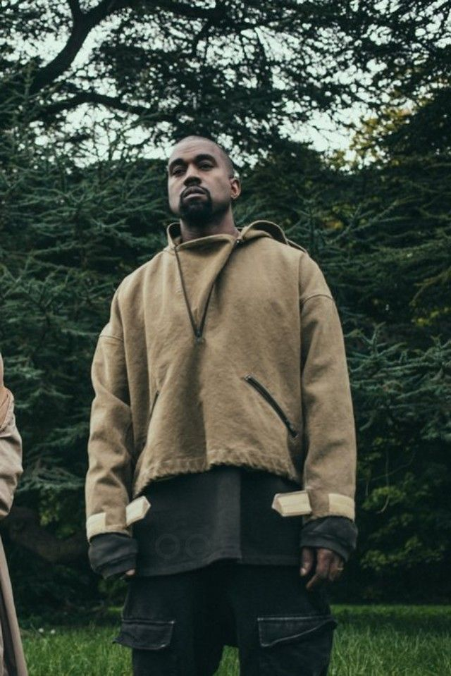 Kanye West wearing  Adidas Yeezy Season 2 Boost 750, Yeezy SS16 Cargo Pants, Adidas Yeezy Season 1 Short Sleeve Crew