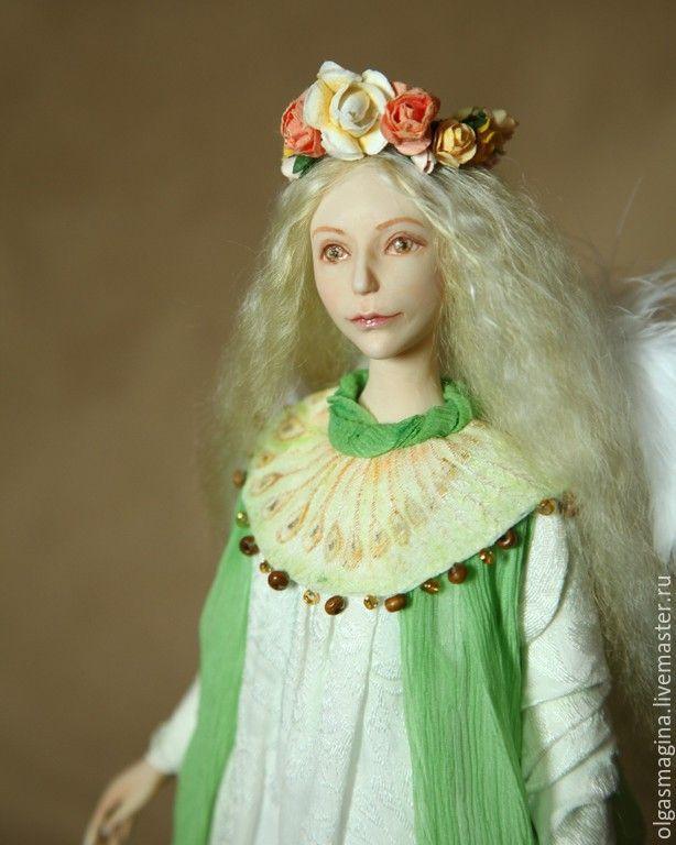 Купить Ангел и олененок, авторская кукла - белый, ангел, ангел-хранитель, олень, олененок
