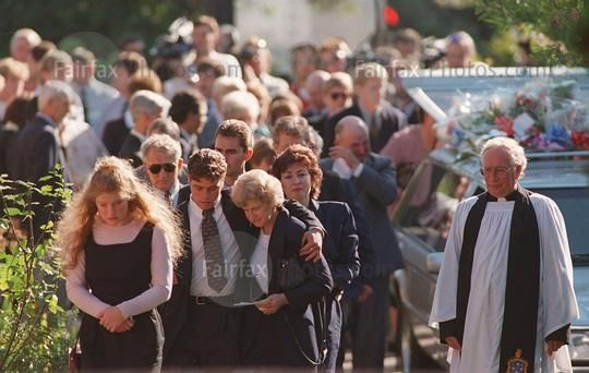 Mourners at the funeral of Royce Thompson at St Clement's Anglican Church, Kingston, the first of the 35 victims of the Port Arthur massacre to be buried, 3 May 1996.