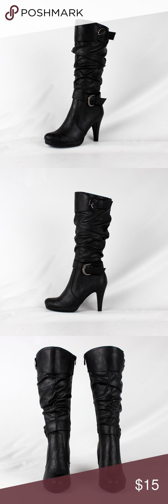 Faux leather strap heel boot (Lotus-28 Black) Shaft 12 1/2in heel height 4in.                                      ¥ my boutique ¥                                                                                                                        😍All items brand new 😢No price negotiation please ✌🏻️Bundle for discounts 😬No trades & PayPal 😊Please feel free to ask any questions Shoes Heeled Boots