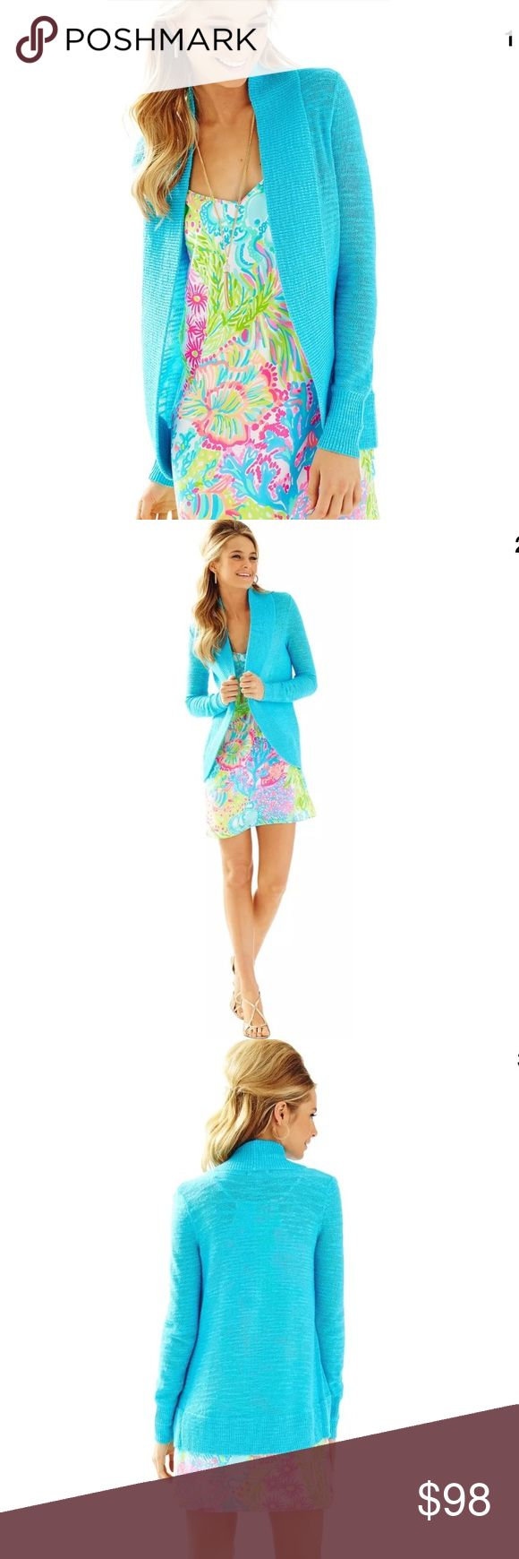 NWT Lilly Pulitzer Amalie Cardigan Pool Blue Sz S The Amalie Open Front Cardigan was made with light viscose yarn to be the perfect spring weight cardigan to wear with leggings, tunics, maxi dresses, you name it!. Its longer length is perfect for wearing over shorts on cooler nights,and its open style makes it relaxed and casual for wearing to the beach or the bistro.  Long Sleeve Longer Length Open Cardigan. Viscose Polyester (68% Viscose, 32% Polyester). Machine Wash Cold. Imported. Lilly…