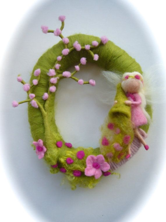 Spring Wreath.Spring Fairy . Needle Felted. Waldorf.Wool