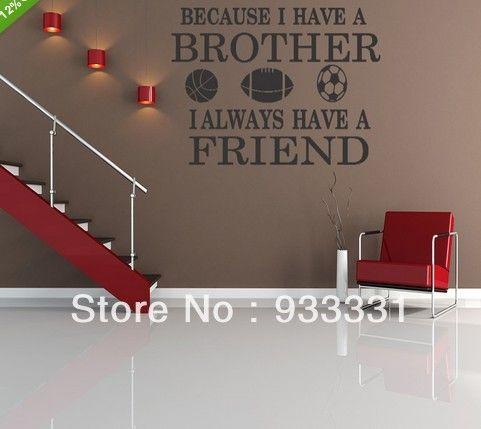 5pcs/lot broers vrienden jongen kamer sport decor muur citaat sticker verwijderbare letters(China (Mainland))