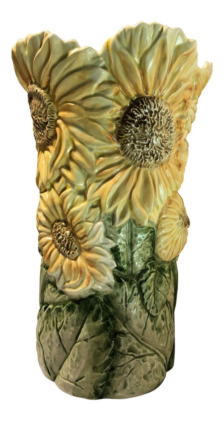 1988 Fitz & Floyd Sunflower Vase on Chairish.com