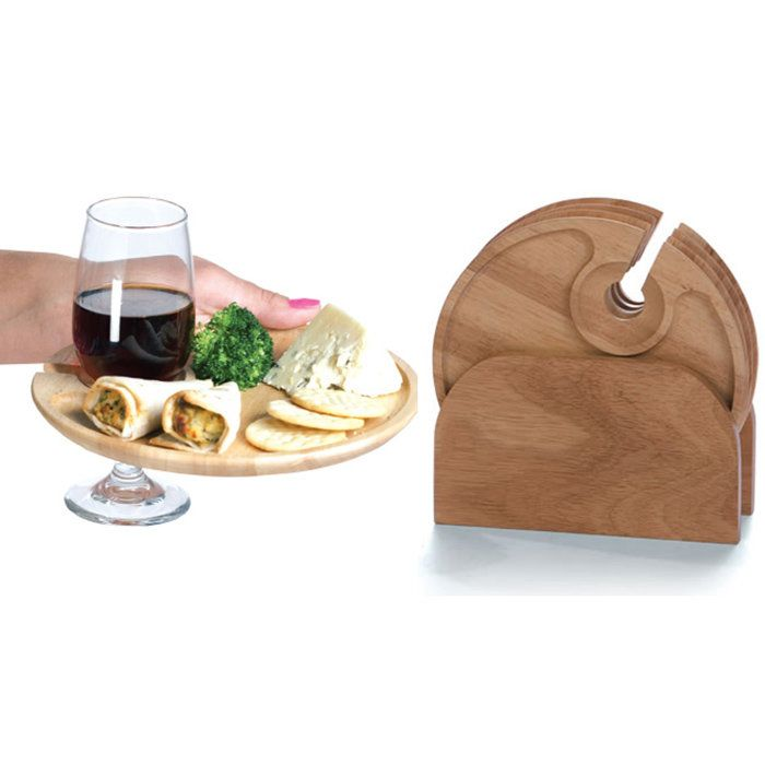 Convenient individual party trays each feature a slot for the stem of your guest's glass.