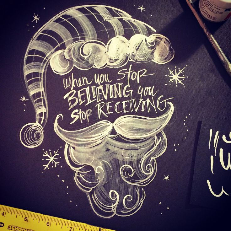 Do you Believe? Chalkboard inspired Santa Claus painting. When you stop believing you stop receiving! original artwork by Amie Freling MemeHill.com