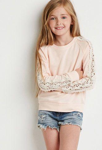 $16 Crochet Paneled Sweatshirt (Kids) | Forever 21 girls - 2000136595